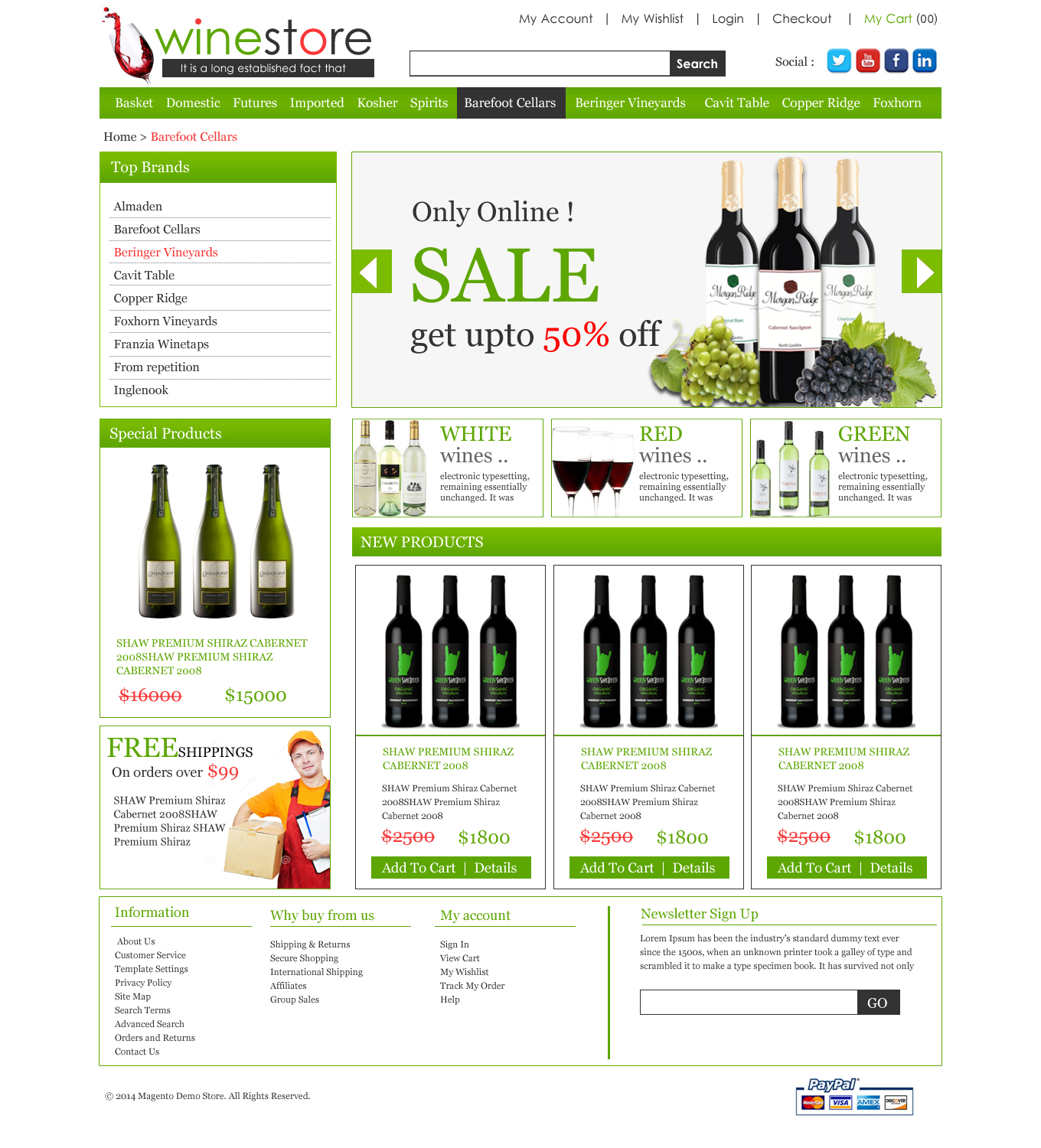 wine store ecommerce template